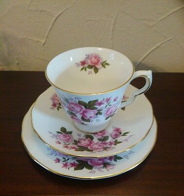 4 Vintage Queen Anne Bone China Trio Cup,  Saucer & Plate 1949 - 1966 Lovely Ex+