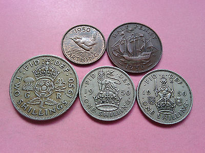 5 UK Coins George VI Year 1950 Collection Bulk Lot Birthday Present Gift (T606)