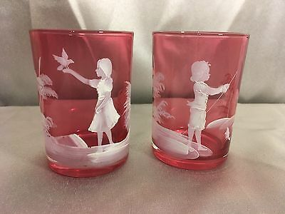 Mary Gregory Hand Enameled Cranberry Art Glass Tumbler Set Vintage