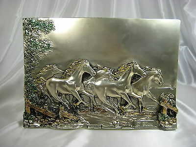 Antique Italian Running Horses Sterling Silver Plated Arg 925 Plaque Signed