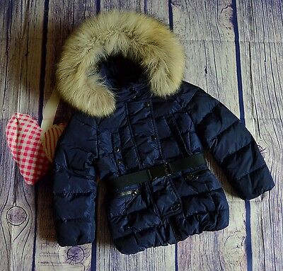 Moncler Girls Designer Down Filled Fur Trimmed Coat 4 Years RRP £475 VGC