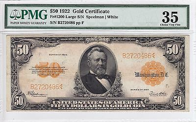 United States 1922 $50 Gold Certificate Note PMG VF 35 FR#1200 B2720486 Rare!