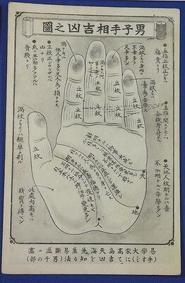 Vintage Japan Postcard Palmistry Fortune Telling Hand card china palm reading