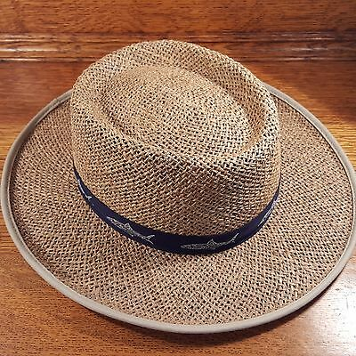 COLUMBIA SPORTSWEAR Seagrass Straw Panama Hat Shark Fish Band size L XL