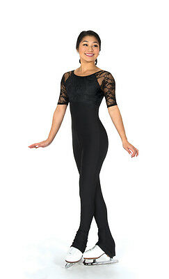 New Jerrys Figure Skating Dress Catsuit Unitard Black Lace Made on Order
