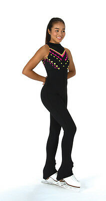 New Jerrys Figure Skating Dress Catsuit Unitard Black Chevron Made on Order