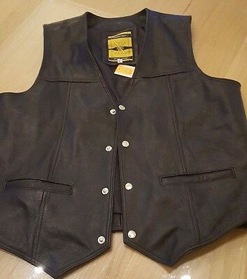 LEATHER WAIST COAT Biker Motorcycle Gilet Motorbike Vest Black/Timeless CowHide