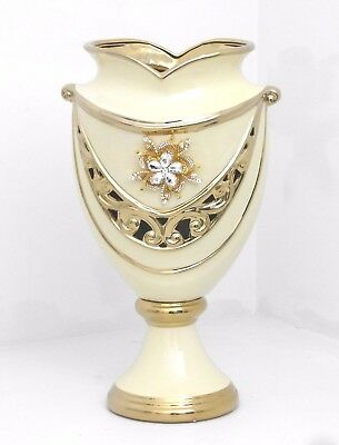 Gold /& White Pedestal Bowl  with Gold Handle Home Decorative