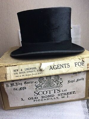 antique vintage scotts ltd of piccadilly black silk top hat eton original boxed
