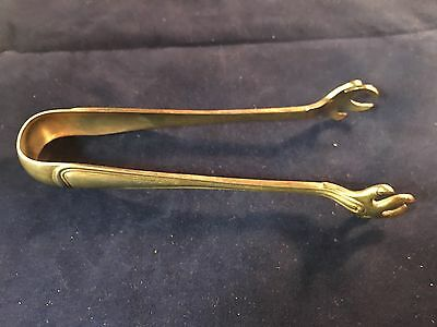 "5"" INCH ANTIQUE SOLID STERLING SILVER CLAW-FOOTED SUGAR CUBE TONGS 43.0g SIGNED"