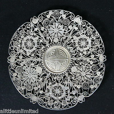Antique Chinese Signed Silver Filigree Plate Wine Cup Stand Style