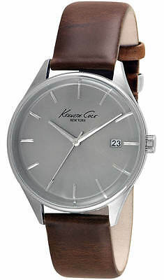 Kenneth Cole Men's New York Grey Dial Brown Leather Watch 10029305