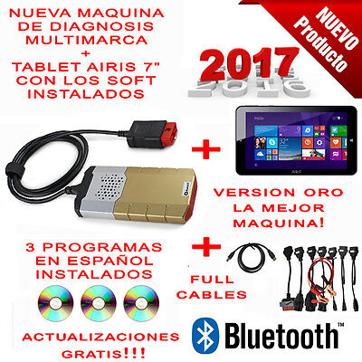 Maquina Diagnosis Bluetooth Multimarca 2017 Oro + Tablet + 3 Soft + Ful Cables
