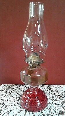 """Vintage Cranberry Etched Glass Oil Lamp With Eagle Burner 16"""" Tall"""