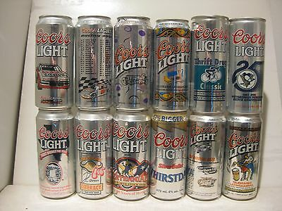 12 can lot Coors collectors empty beer cans 16oz