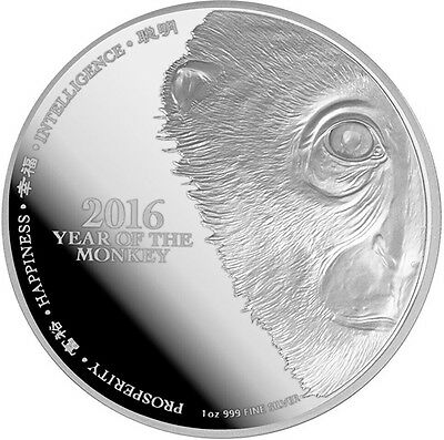 2016 Year Of The Monkey Lunar 1oz Silver Coin