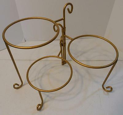 Gold Metal 3 Tier Cake Pie Dessert Plate Display Stand Rack Server