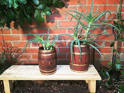 2 X Wooden Bucket Pot Planter Wine Port Barrel Patio Garden Outdoor Home Decor