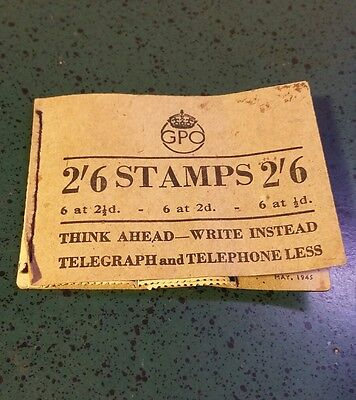 Vintage 1945 Great Britain GPO Stamp Booklet-12 Stamps - WWII