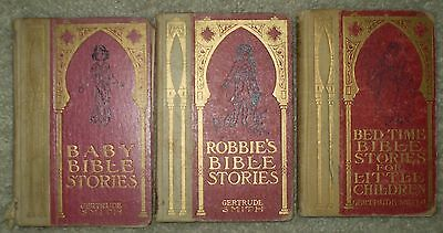 Lot Of 3 Books By Gertrude Smith, Children's Bible Stories, 1904-1914