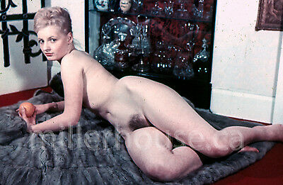 1950's Blonde w/Orange Original Nude Pin-Up 35mm Film Transparency Slide Photo