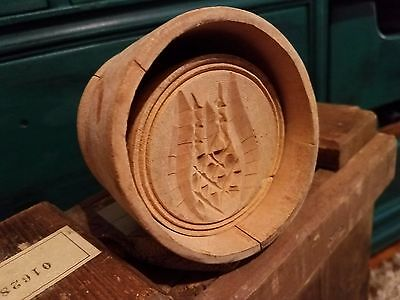 Antique Wooden Butter Primitive Mold with Hand-Carved Pineapple Design