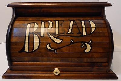 """Vintage Stained Wood Bread Box With """"bread"""" Painted On The Roll Top Door"""