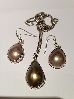 Blister Pearl And Sterling Silver Necklace And Earrings Set