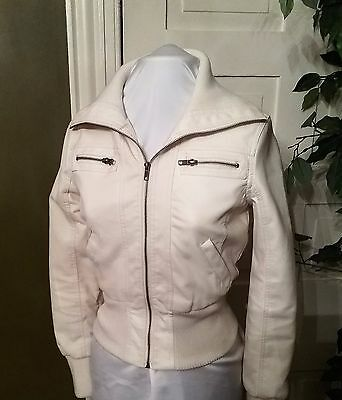 Ambience Apparel Motorcycle Bomber Faux Leather White Jacket Size S Small Womens