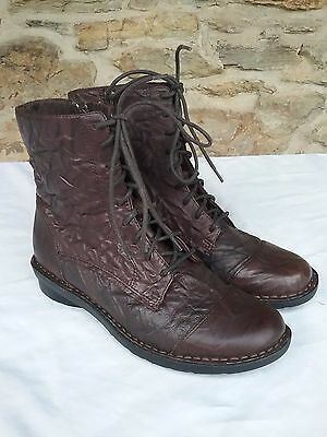 Clarks Nikki Plaza Womens Lace Up Brown Leather Size 7M Boot Ankle Side Zip