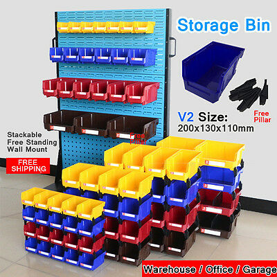 Free-Standing Stackable Storage Bin Organiser box Tool Parts Garage Workshop V2
