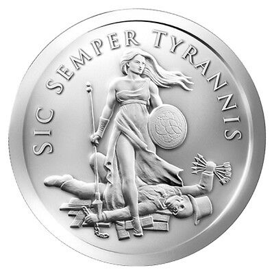 2 oz Troy 2015 Sic Semper Tyrannis Silver Round 99.9% Pure Big and Beautiful!!!