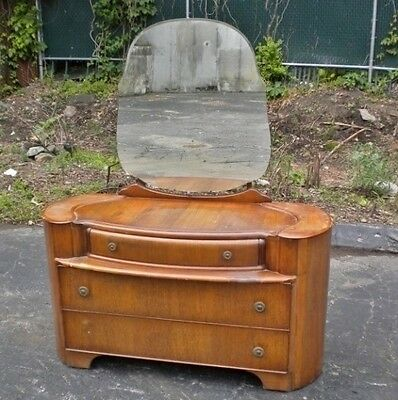ANTIQUE Amazing ART DECO 1930 Large Oak Vanity
