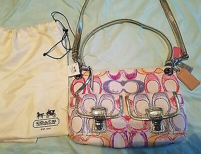 Nwt Coach Purse Handbag Signature Fabric Multicolor With Dust Bag New