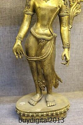 "17"" Tibet Buddhism Old Bronze 24K Gold Stand lotus flower Hand Kwan-Yin Statue"