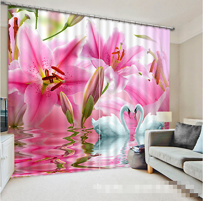 3D Lily Sawn Blockout Photo Curtain Printing Curtains Drapes Fabric Window CA