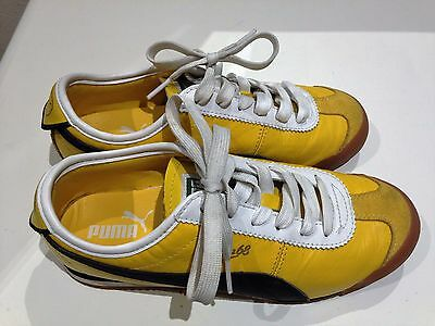 TRENDY Vintage PUMA Canary YELLOW Leather sports shoes - SZ 6 Women