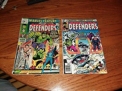 Marvel Feature 1 1st appearance of the Defenders gd/vg plus defenders #76 vf