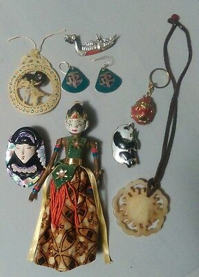 Antique Asian / Chinese Jewelry lot w/ jade, pendants and Antique Oriental Doll