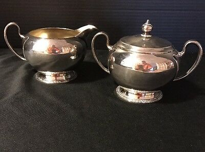 Antique Silver Plate Oneida Ashby Sugar & Creamer Set