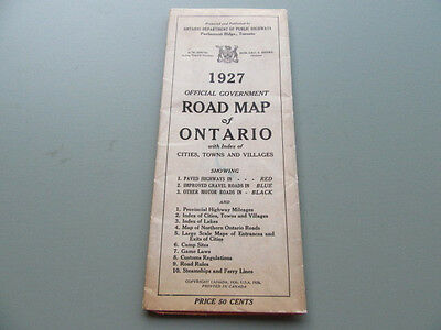 Rare 1927 Official Government Road Map of Ontario