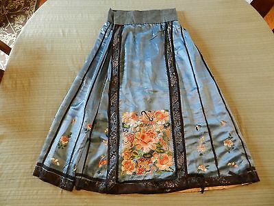 Antique Vintage Silk Embroidery Floral Print Hand Stiched Chinese Wedding Skirt