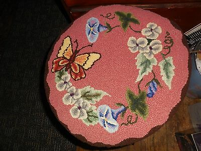 Antique Piano Stool Cover Rug Vintage Collect
