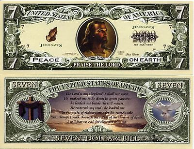 Jesus Christ Psalm 23 - 7 Dollar Bill Play Funny Money Novelty Note +FREE SLEEVE
