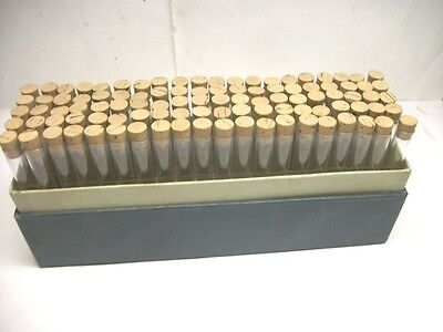 "Lot of 100  4-1/2"" X 1/2"" Flat Bottom Glass Test Tubes w / Cork & Indexed Box"