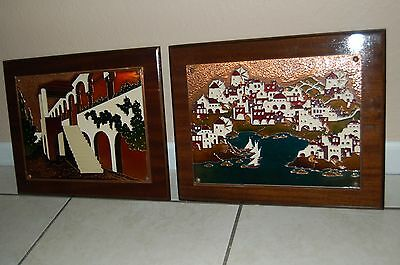 Mid Century Enamel On Copper City Views Painting On Wood Vintage Wall Hanging