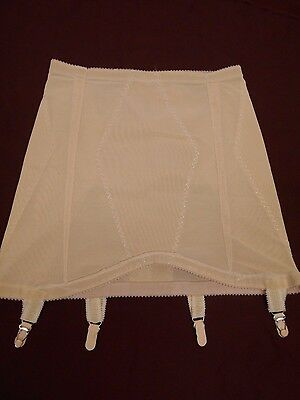 "VINTAGE BEIGE OPEN GIRDLE 4 Hold Up Straps GARTER BELT SHAPER 25"" Waist"