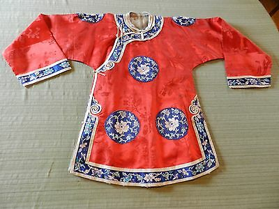 Antique Vintage Chinese Robe Red Embroidered Hand Stitched Silk Jacket