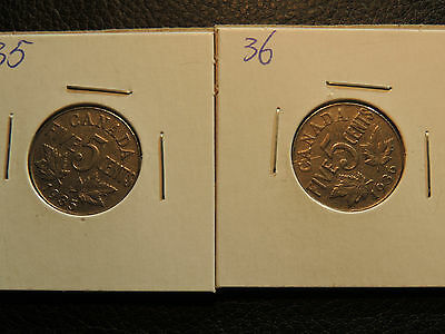 1935 1936 Canada .05 Five Cents Nickel George V - Lot Of 2 Coins