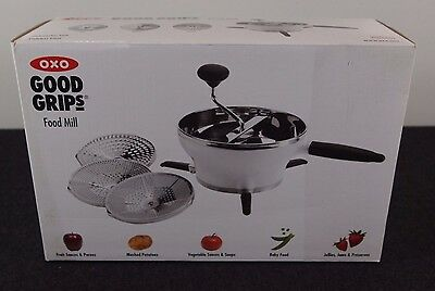 OXO Good Grips 2.3 Qt Stainless Steel Hot Cold Food Mill Grinder with 3 Discs